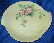 CLASSIC CARLTON WARE PINK BRIAR ROSE SERVING PLATE - YELLOW BACKGROUND