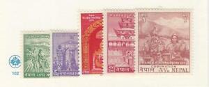 Nepal-Postage-Stamp-84-88-Mint-LH-1956-JFZ
