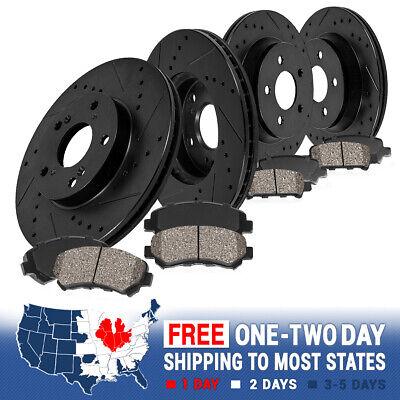 Fit Chevrolet Corvette Front Rear Black Drill Slot Brake Rotors+Ceramic Pads