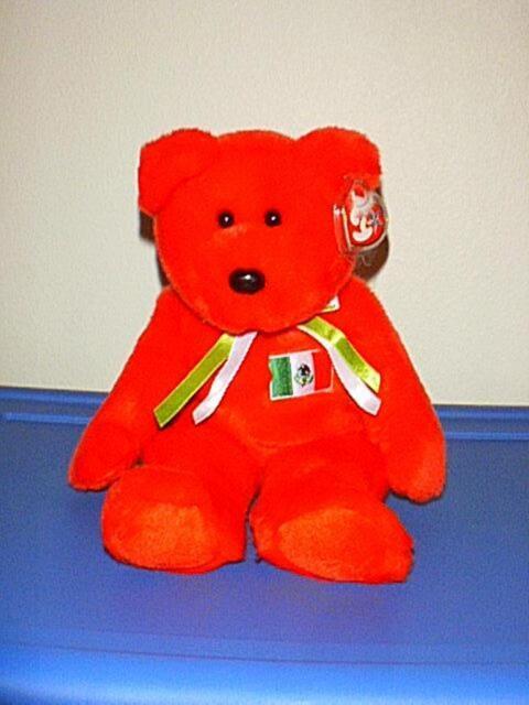 Osito Retired 1999 Ty Beanie Buddy Mexican Flag 13in Red Teddy Bear ... 603306a9b599