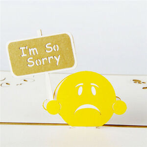 3D-Pop-Up-Greeting-Cards-I-039-m-So-Sorry-Apologize-Regret-Personalised-Postcards