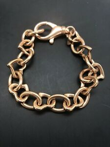 Bronze-Milor-ITALY-Heart-Link-Chain-Bracelet-Rose-Gold-Tone