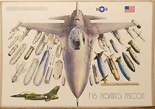 (PRL) 1987 AEREO CACCIA JET F16 FIGHTING FALCON VINTAGE AFFICHE POSTER ART PRINT