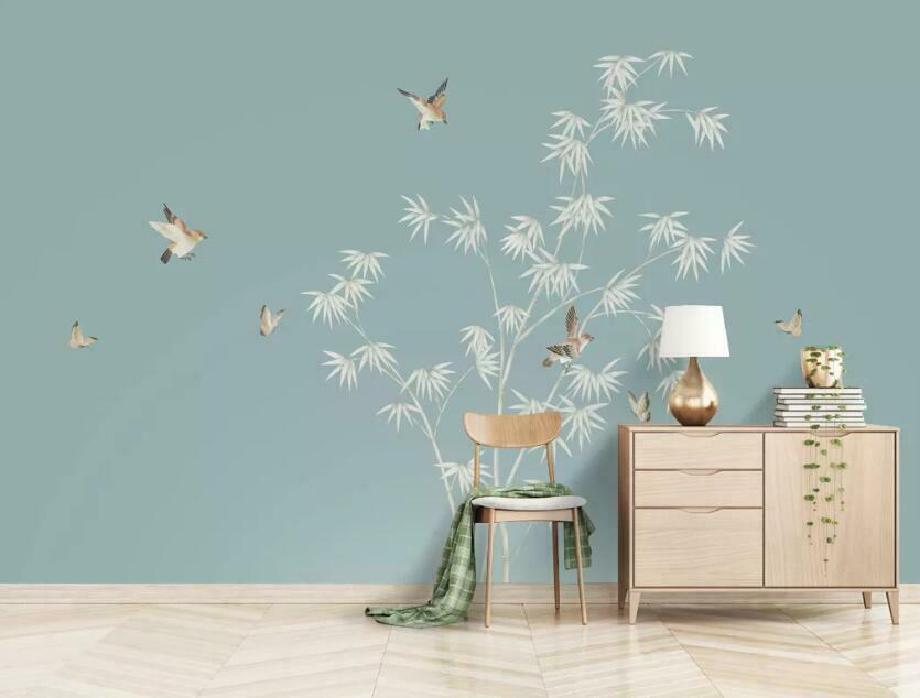 3D Bamboo Leaf Bird N80 Wallpaper Wall Mural Removable Self-adhesive Sticker Amy