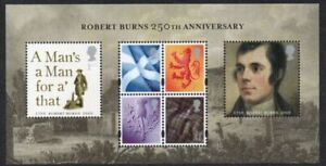Great Britain Sc 2625 2009 Robert Burns stamp sheet mint NH