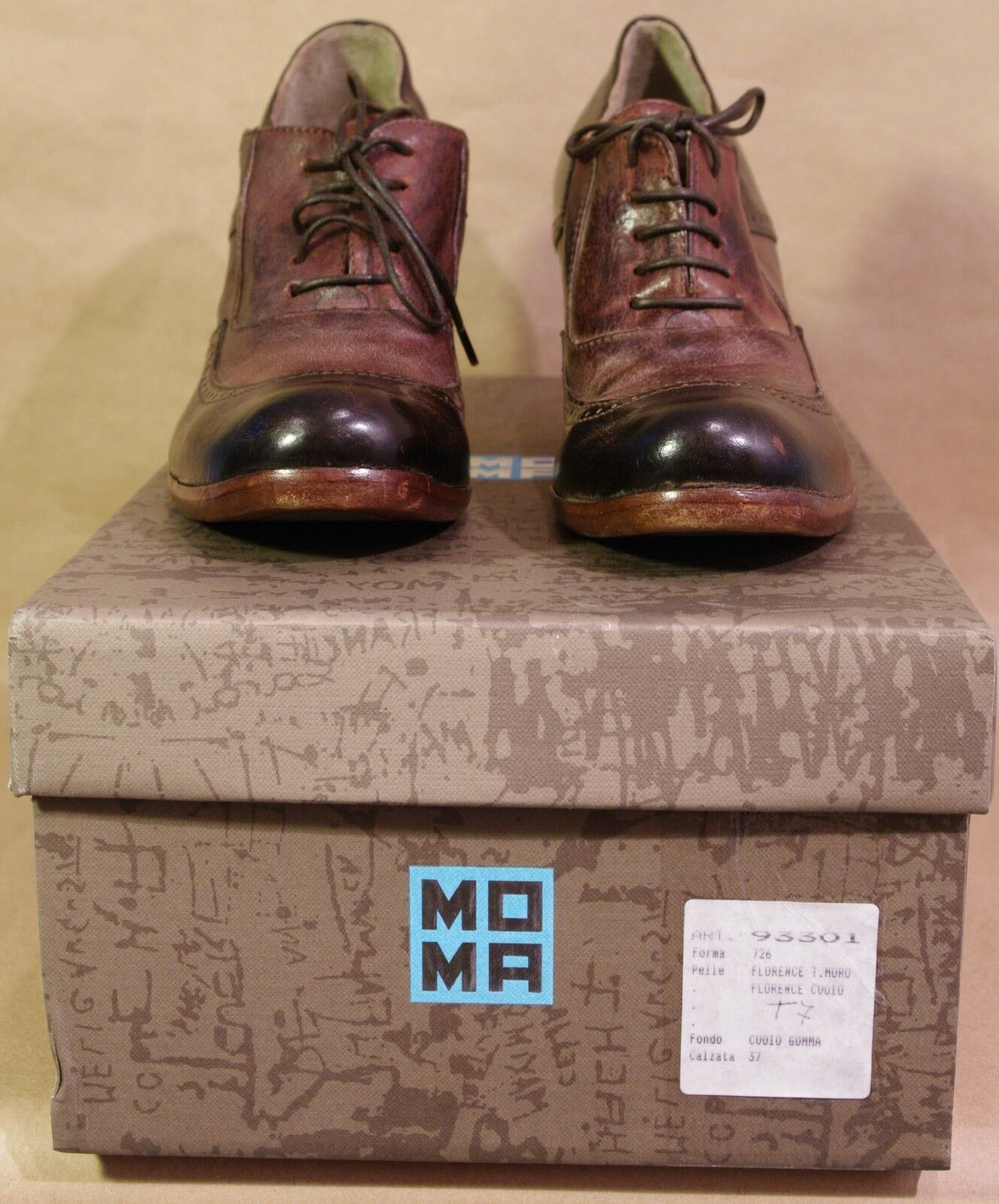 bd24887b50 Moma Moma Moma Heeled Two-Tone Laceup Brown Oxfords NIB EUR 37 ...