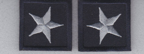 2 Police Chief//Sheriff 1 STAR SILVER on MIDNIGHT NAVY collar//lapel patches 1.5/""