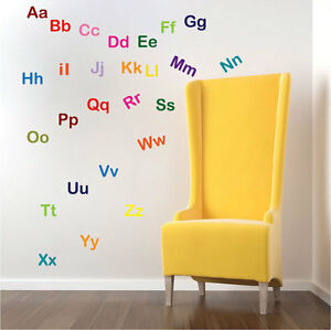 Image Is Loading Alphabet Wall Decal Mural Vinyl Letters Words Nursery