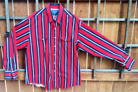 Wrangler Western Shirt-Red Blue-Snap Pearl Button Up-XL-Striped-Cowboy Ranch....