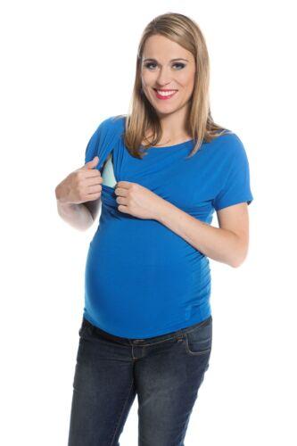 Umstands-Kurzarmshirt  Gr S-XL in Blau und Grün von My Tummy Schlichtes Still-