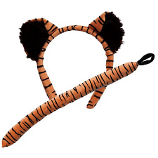 Adult / Child Tiger Ears On Headband and Tail Set Fancy Dress Costume Accessory