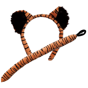 Adult Child Tiger Ears On Headband and Tail Set Fancy Dress Costume Accessory