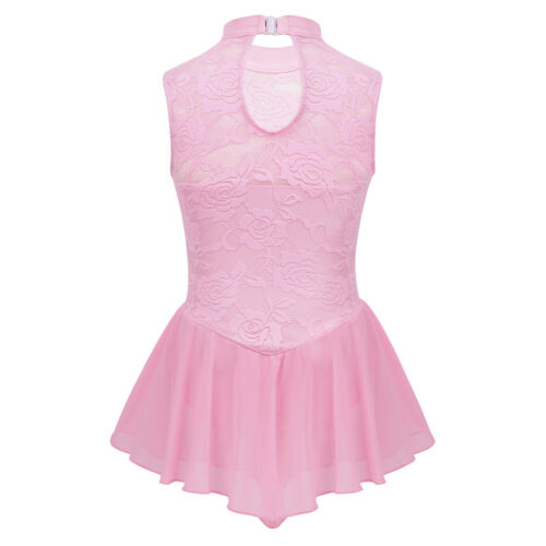 Girls Ballet Dance Wear Figure Ice Skating Roller Skating Sport Leotard Dress