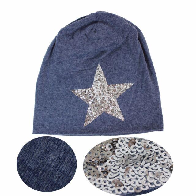Damen Star Glitzerstern Beanie Mütze mit silbernem Pailletten Stern /& Rollrand