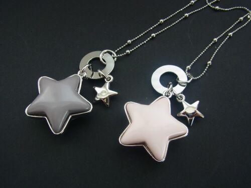 Kete Halskette Lange Kette mit Anhänger Stern Sterne im Rosa oder Grau