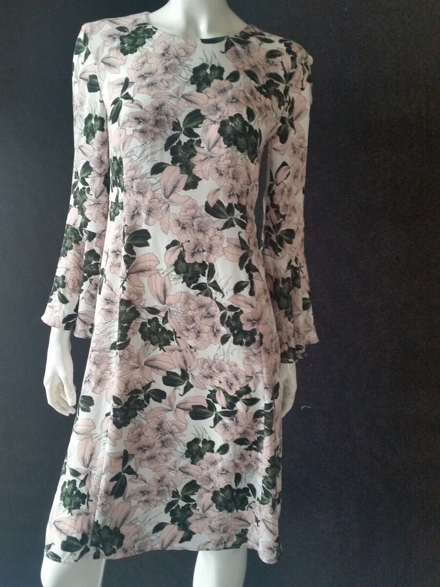 Hallhuber dress bluemenmuster Multicolour with Trumpet Sleeves Size 36 NEW