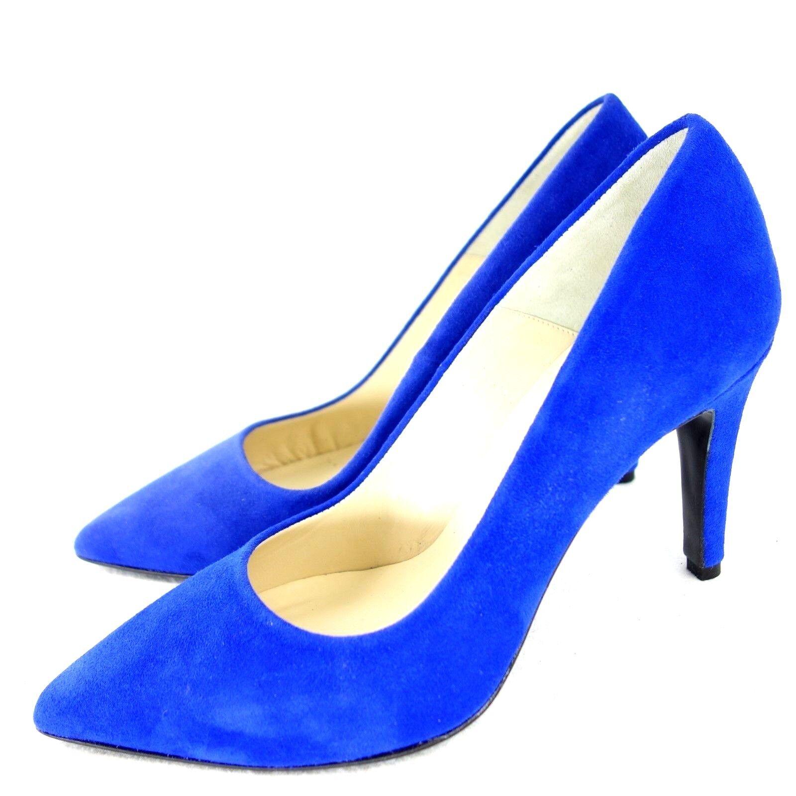 FIRST1FASHION Damen Designer Pumps Blau Wildleder Spitz Leder Schuhe NP 139 NEU