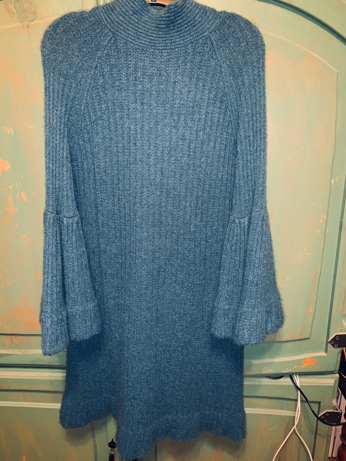BCBGMAXAZRIA Teal Wool Blend Back Neck Tie Sweater Dress Top (Größe M)