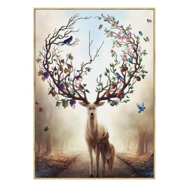 1X(Wall Art Deer Stag with Long Antler Bloom and Bear Fruit Pictures Prints F7E7