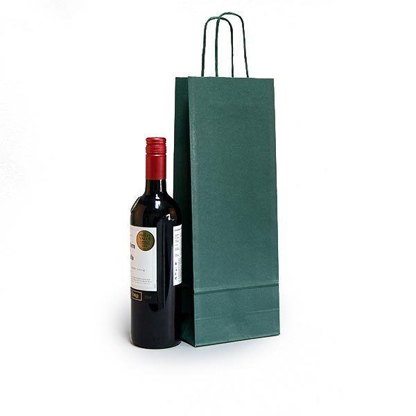Vert bouteille Sac de vin Sac Luxe Kraft papertwisted Poignée Transporteur Sac bouteille Cadeau e60748