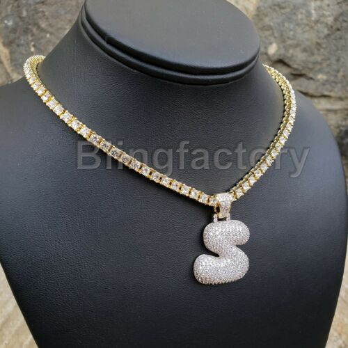"""Hip Hop Iced out Brass Bubble Letter /""""S/"""" /& 18/"""" 1 Row Tennis Choker Chain Set"""