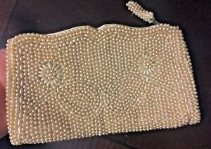 Vintage-Antique-Beaded-Clutch-Cream-Wedding-Delicate-Lovely