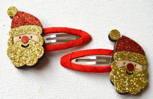 NEW Gold glitter santa sleepie hair clips fancy dress Christmas Celebrations