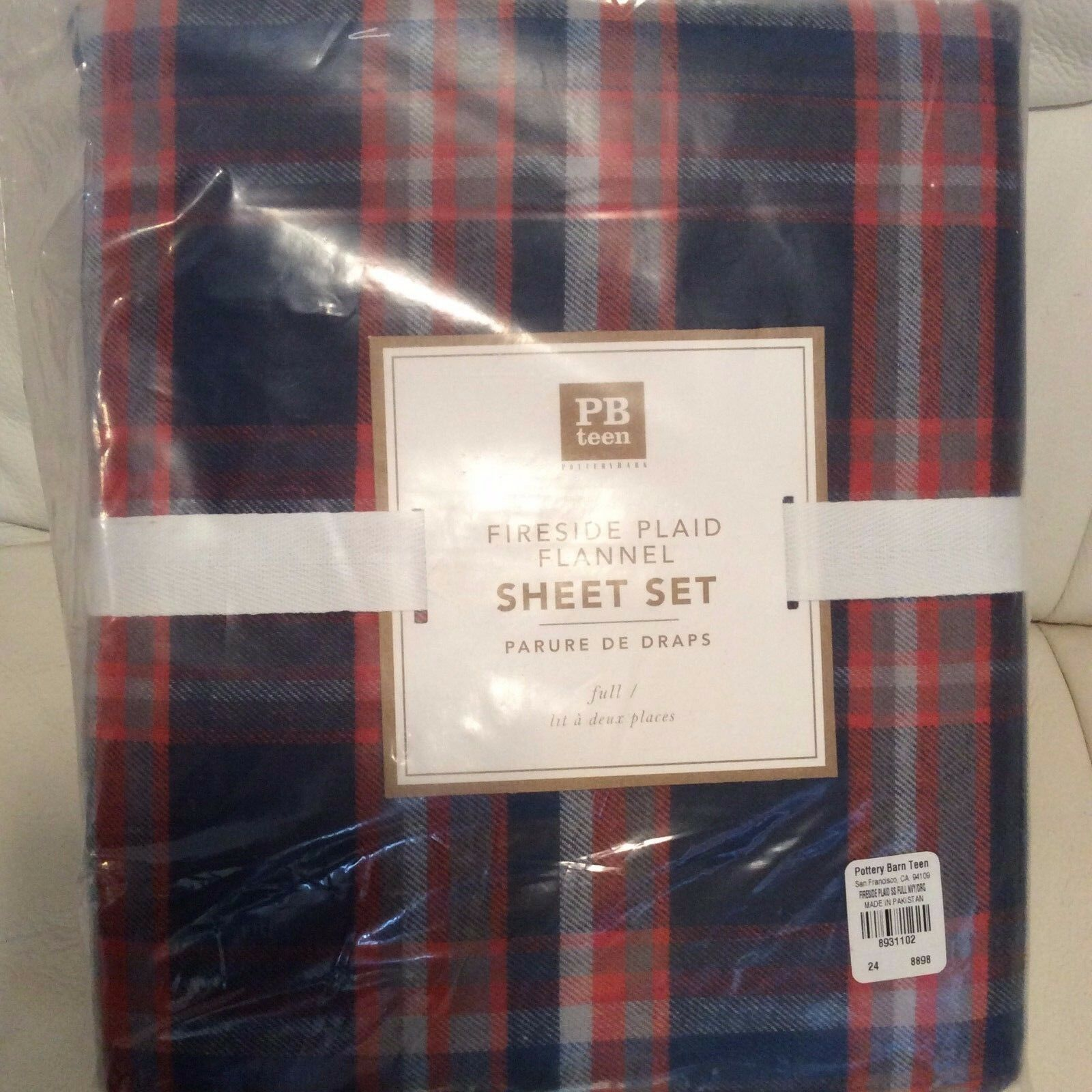 Pottery Barn Teen Fireside Plaid Flannel Sheet Set Full NIP  Navy orange