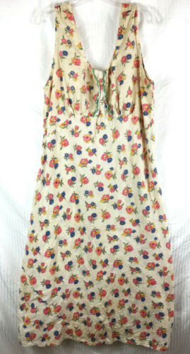 L XL Unfinished 1930s Floral Dress Textured Fabric
