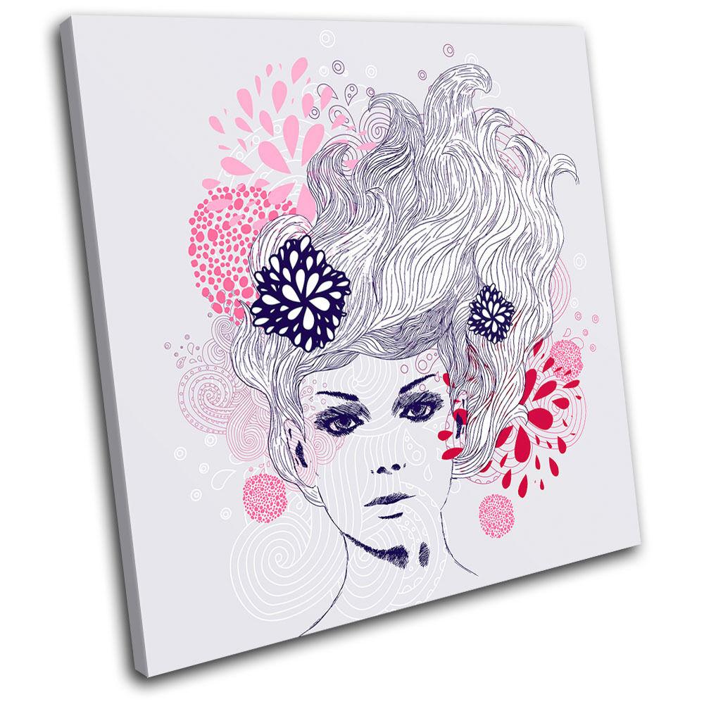 Floral female Illustration SINGLE TOILE murale ART Photo Print