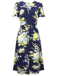 Warehouse-Vestido-Midi-Talla-10-12-14-Azul-Marino-Manga-Corta-Floral-Nuevo