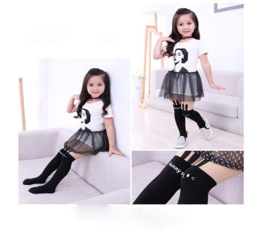 1 Pairs Baby Girls Fashion Cotton Knee High Kids School Socks Siamese Tights CE