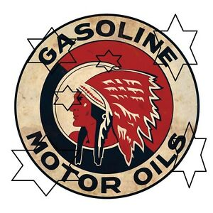 VINTAGE-RED-INDIAN-GASOLINE-PETROL-DECAL-STICKER-LABEL-9-INCH-DIA-230-MM-HOT-ROD