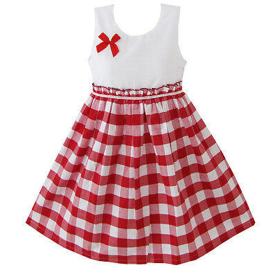 Sunny Fashion New Girls Dress Red Tartan Sundress Kids Clothing 4-10