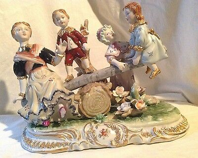 """Miessen style Porcelain Figural Group """"Nanny with Kids on Swing""""."""