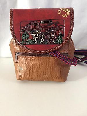 Zainetto Borsa In Vera Pelle Sicilia Made In Italy Ps07 Leather Bag Rosso Fabbricazione Abile