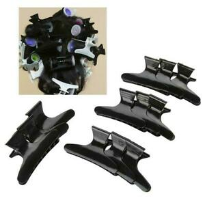 12pcs Butterfly Hair Clips Salon Hairdresser Styling Clamps Claw Black Grip