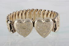 GOLD OVER STERLING BASE VICTORIA DOUBLE ETCHED DESIGN HEARTS BRACELET 925  9846