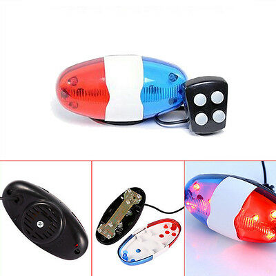6 LED Bike Bicycle Police Light 4 Loud Siren Sound Trumpet Cycling Horn Bell