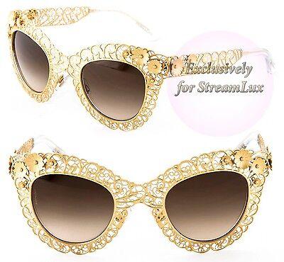 a130ec8c603 DOLCE   GABBANA FILIGREE Sunglasses DG 2134 02-13 Gold Lace Brown Lenses