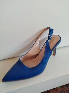 Sabot Sandali Da Donna Di Colore Blu Elettrico N 37 In Pelle Con Tacco