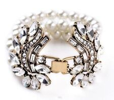 WHITE PEARL BEAD & CLEAR CRYSTAL RHINESTONE Vtg Gold Designer Statement Bracelet