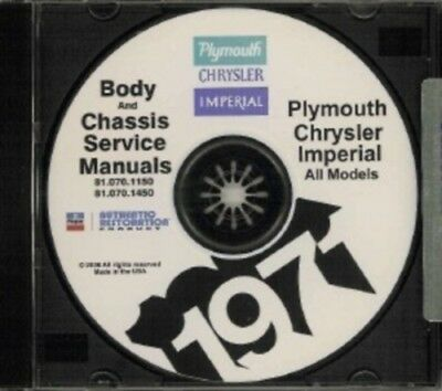 PLYMOUTH 1975 Road Runner Duster /& Valiant Shop Manual CD Fury