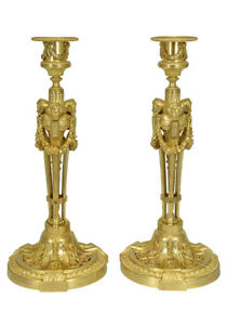 Bougeoirs-angelots-Kaminuhr-Empire-clock-bronze-horloge-antique-cartel-uhren