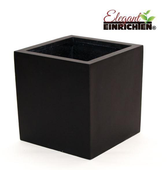 Blaumenkübel Fiberglas quadratisch 50x50x50cm elegant schwarz-matt.