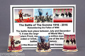 WW1-The-Battle-of-The-Somme-1916-2016-Boxed-Set-of-3-Thimbles-Ltd-Ed-Cert-B-182