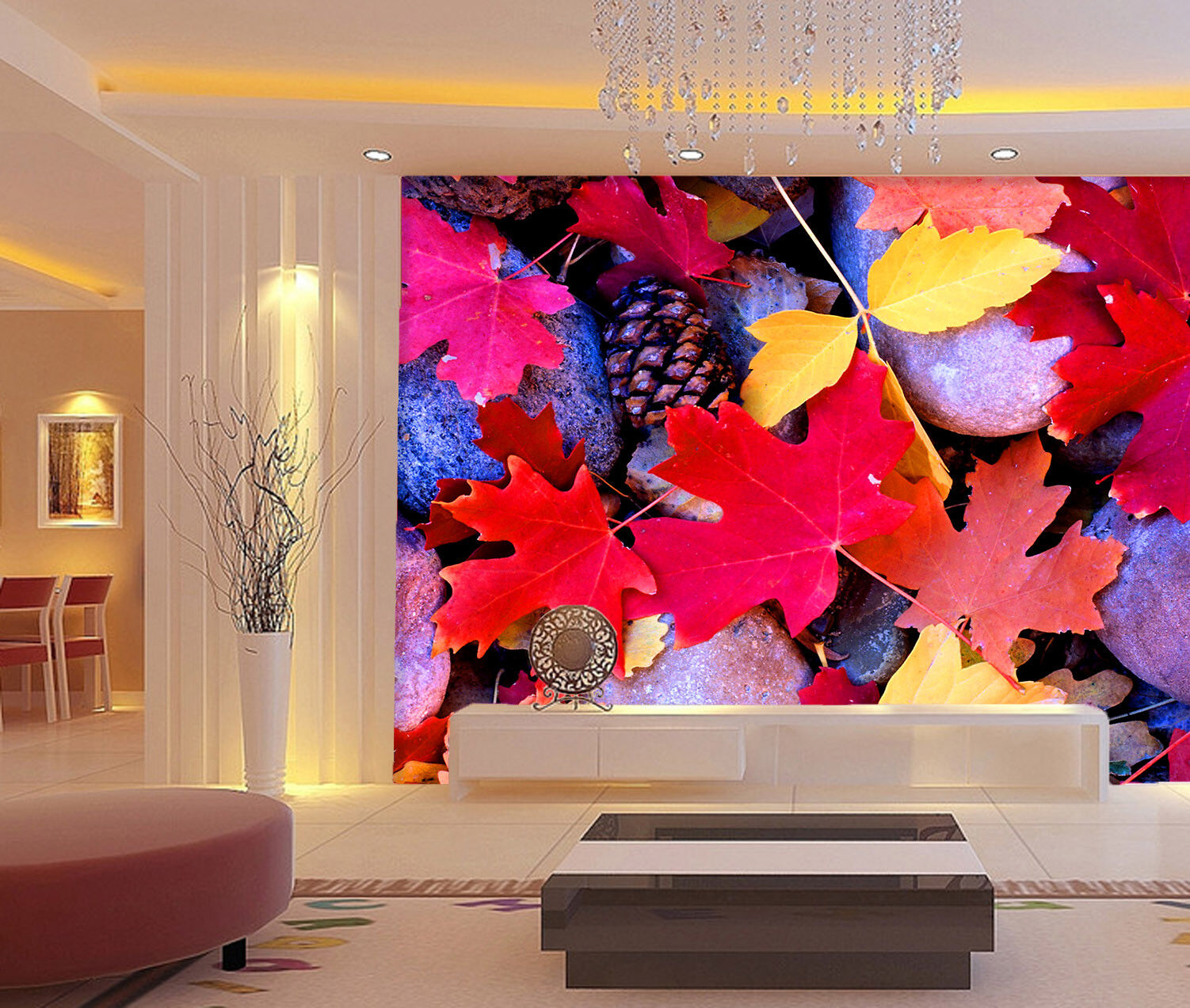 3D Stones Red Leaves 9 Wall Paper Murals Wall Print Wall Wallpaper Mural AU Kyra