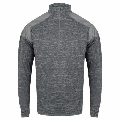 Homme Zip Col haut à manches longues Running Training Sport Gym T Shirt Réfléchissant Tee