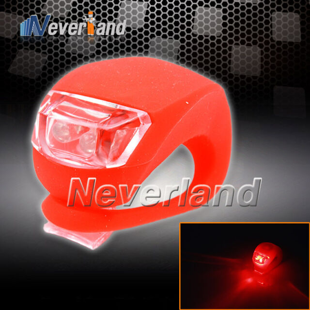 LED Bicycle Bike Cycling Silicone Head Front Rear Wheel Safety Light Lamp Red