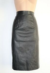 Women-039-s-Vintage-High-Waist-Straight-Mid-Calf-Black-100-Leather-Skirt-UK8-W27